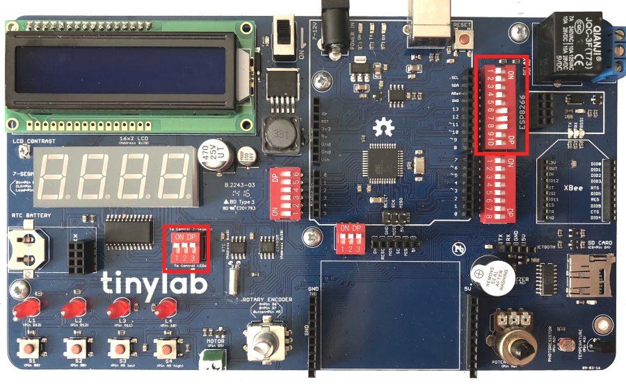 TinyLab: Poloha přepínačů pro ovládání sedmisegmentového displeje