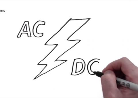 Úvodní obrázek k video popisujícímu rozdíl mezi střídavým a stejnosměrným proudem