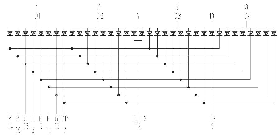 Vnitřní zapojení sedmisegmentového displeje se čtyřmi číslicemi (zdroj: https://cz.mouser.com/datasheet/2/427/tdcx10x0m-88849.pdf)