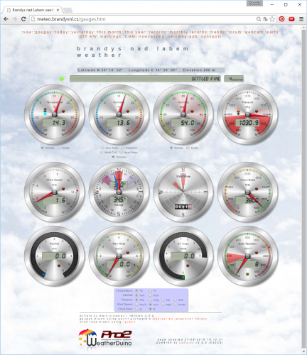 Webová stránka s výstupem Weatherduino