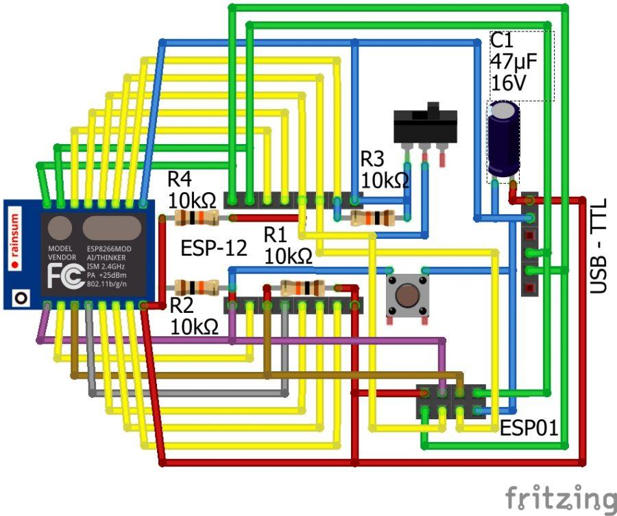 ESP programátor - Nákres zapojení