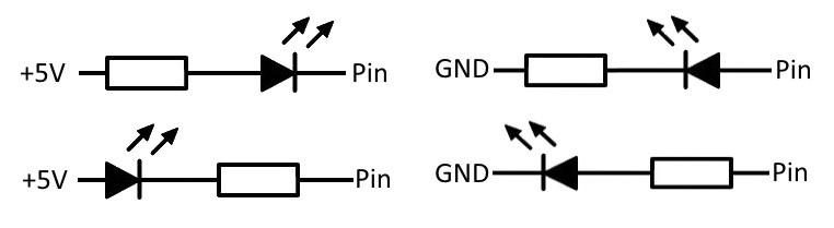 Různé způsoby připojení LED diody k Arduino